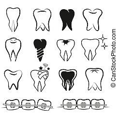 vetorial, jogo, dentes