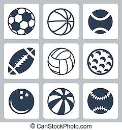 vetorial, jogo, desporto, bolas, ícones
