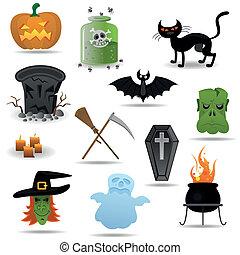 vetorial, jogo, dia das bruxas, ícones