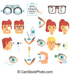vetorial, jogo, diagnóstico, caricatura, oftalmologista, ilustrações, correção, tratamento, visão