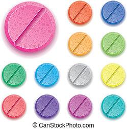 vetorial, jogo, droga, coloridos, pílulas