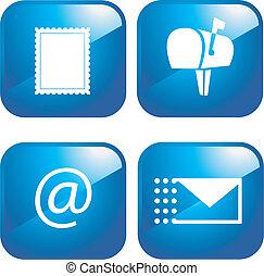 vetorial, jogo, email, ícones