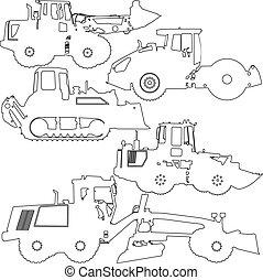 vetorial, jogo, equipment., ilustração, silhuetas, construção, estrada