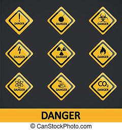 vetorial, jogo, etiqueta, ilustração, perigo