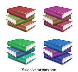 vetorial, jogo, experiência., livros, branca, pilha