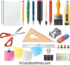 vetorial, jogo, ferramentas, desenho, escritório