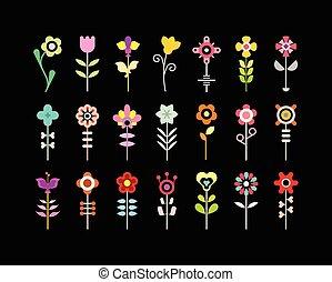 vetorial, jogo, flor, ícone