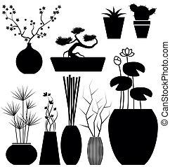 vetorial, jogo, flowerpot