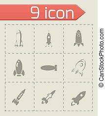vetorial, jogo, foguete, ícone
