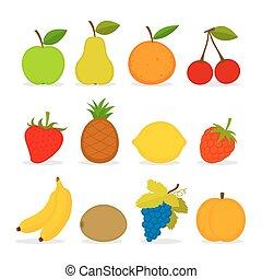 vetorial, jogo, fruta