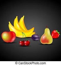 vetorial, jogo, frutas