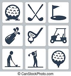 vetorial, jogo, golfe, ícones