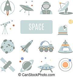 vetorial, jogo, icons., espaço