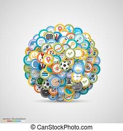 vetorial, jogo, icons., ilustração
