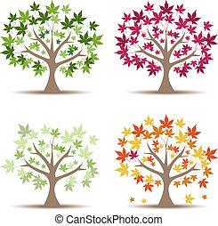 vetorial, jogo, illustration., árvores