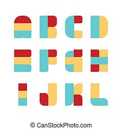 vetorial, jogo, illustration., alfabeto, cor, papel, style.