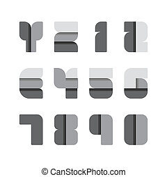 vetorial, jogo, illustration., alfabeto, papel, pretas, style.