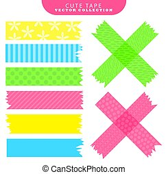 vetorial, jogo, illustration., coloridos, patterns., variante, washi, fita