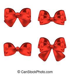 vetorial, jogo, illustration., presente, arcos, ribbons., vermelho