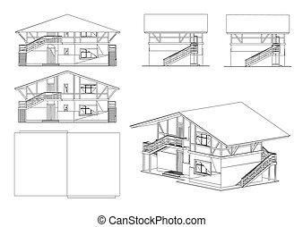 vetorial, jogo, ilustração, edifício.