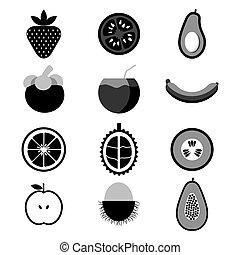 vetorial, jogo, ilustração, fruta, ícone