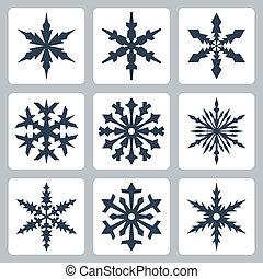 vetorial, jogo, isolado, snowflakes, ícones