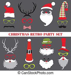vetorial, jogo, -, lábios, óculos, máscaras, chapéus natal, ...