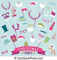 vetorial, jogo, -, lábios, óculos, máscaras, chapéus natal, barraca, bigodes, foto, partido, estacas, retro