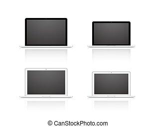 vetorial, jogo, laptop, isolado, branco, fundo