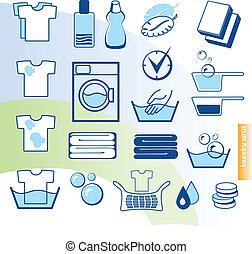 vetorial, jogo, lavanderia, ícones