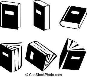 vetorial, jogo, livro, ícones