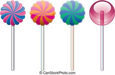 vetorial, jogo, lollipops, coloridos