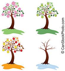 vetorial, jogo, maçã, árvores