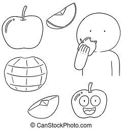 vetorial, jogo, maçã