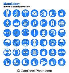 vetorial, jogo, mandatory, work., indústria, equipment., cobrança, proteção, saúde, ilustração, segurança, construção, signs.