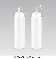 vetorial, jogo, mostarda, garrafa, isolado, plástico, sem, fundo, em branco, marcar, branca, etiqueta, maionese, ketchup