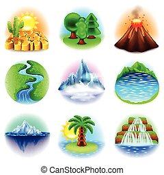 vetorial, jogo, natureza, ícones