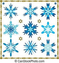 vetorial, jogo, nove, snowflakes, isolado