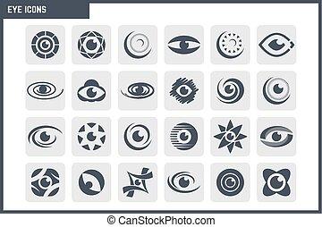 vetorial, jogo, olho, ícone