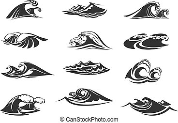 vetorial, jogo, ondas oceano, ícones