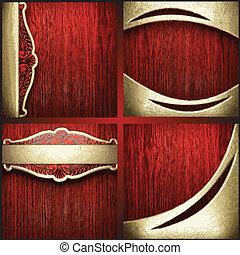 vetorial, jogo, ouro, madeira, fundo, vermelho