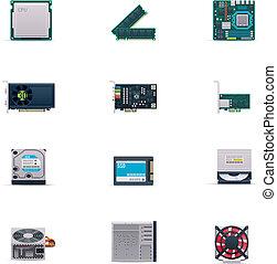 vetorial, jogo, partes computador, ícone