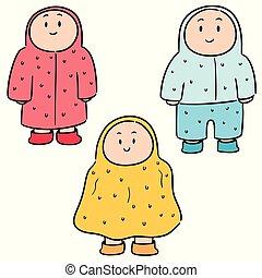 vetorial, jogo, pessoas, raincoat