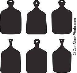 vetorial, jogo, placas, seis, isolado, silhuetas, corte, fundo, branca, cozinha