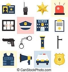 vetorial, jogo, polícia, ícones