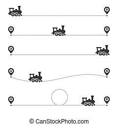 vetorial, jogo, pontilhado, rota, experiência., linha trem, branca