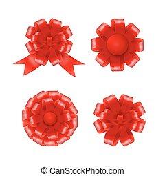 vetorial, jogo, presente, ilustração, arcos, ribbons., vermelho