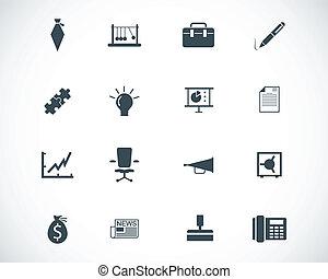 vetorial, jogo, pretas, ícones negócio