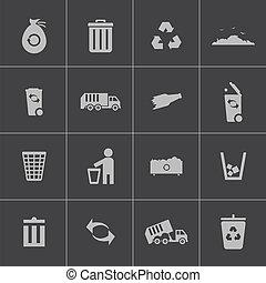 vetorial, jogo, pretas, lixo, ícones