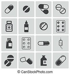 vetorial, jogo, pretas, pílulas, ícone